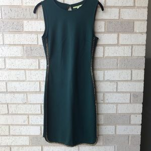 Gianni Bini Green Cocktail Dress Gold Accents XS